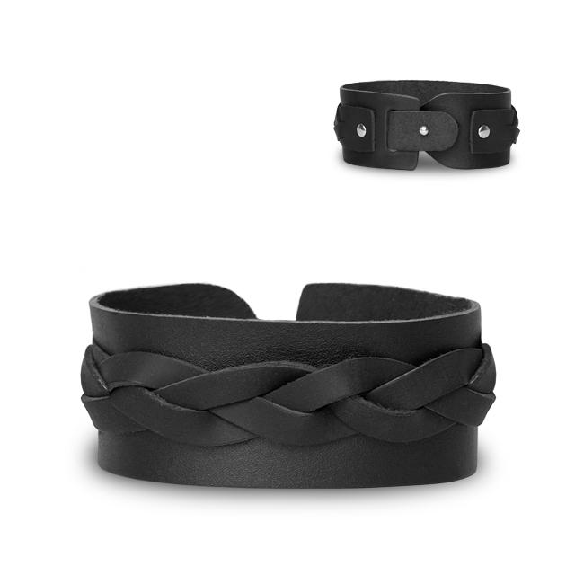 armband lederarmband schwarz leder gepflochten herren. Black Bedroom Furniture Sets. Home Design Ideas