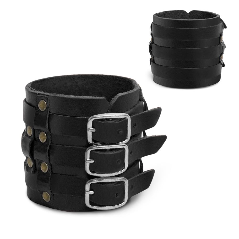 Lederarmband-Breit-Herren-Armband-Gothic-Schwarz-Braun