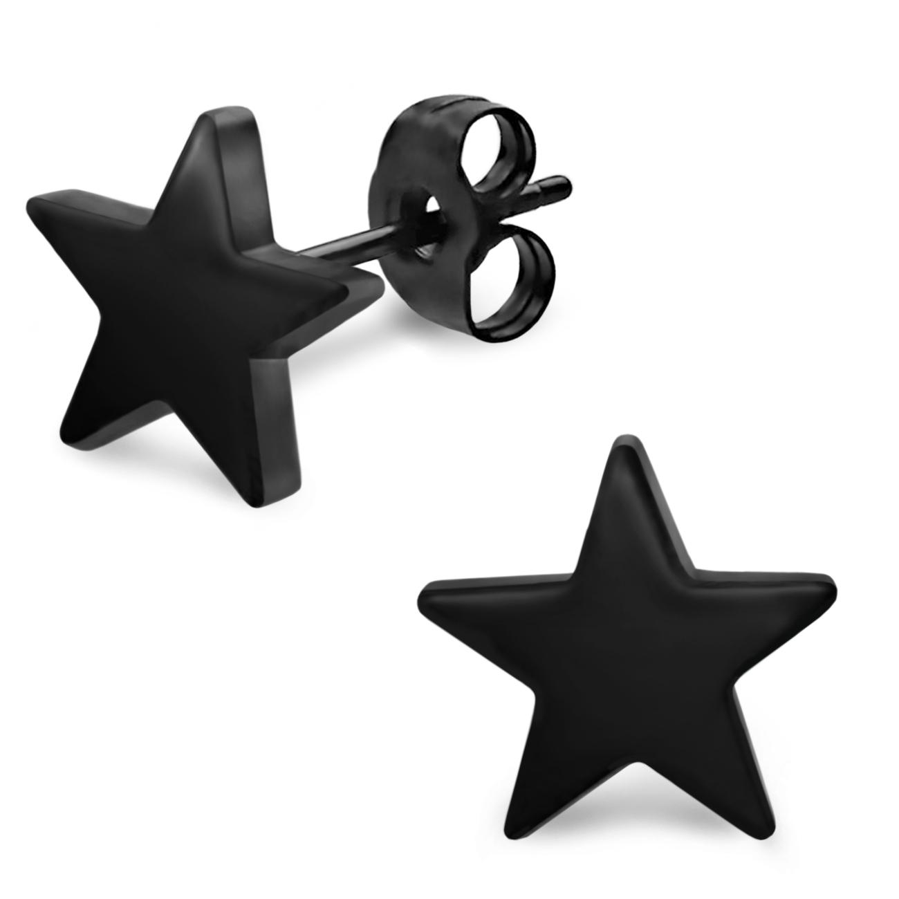 ohrstecker stern schwarz 2er set ohrringe herren m nner. Black Bedroom Furniture Sets. Home Design Ideas